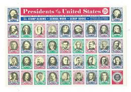 Presidents Of The United States Complete M/Sheet - Blokken & Velletjes