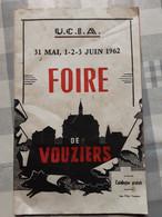Programme Foire De Vouziers   Ucia Juin  1962 - Programmes