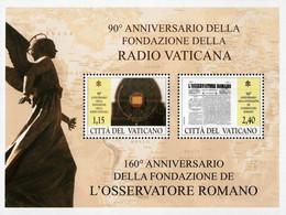 Vatican - 2021 - Vatican Media Anniversaries - Vatican Radio And L'Osservatore Romano Newspaper - Mint Souvenir Sheet - Nuevos