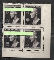 """DR Böhmen&Mähren 1943, Mi-Nr.:131 Reinhard H. Im Viererblock Mit UR Und DV """"Bildhauer F. Rotter"""" U. 2 X PF Postfrisch** - Besetzungen 1938-45"""