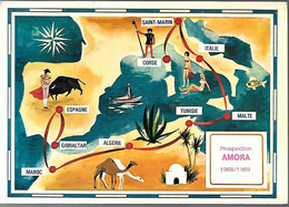 CPA-1968/1969-PUB-LA MOUTARDE AMORA-PROSPECTION AMORA 1968/1969-Corse/Gibraltar-TBE - Werbepostkarten