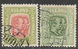 Iceland   1915   Sc#99 & #102 Wmk 114  Used  2016 Scott Value $21.50 - Used Stamps