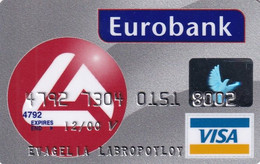 GREECE - Eurobank, Visa(reverse Schlumberger Solaic, Tel : 01 33 37 555), 11/98, Used - Credit Cards (Exp. Date Min. 10 Years)