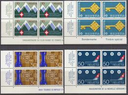 SCHWEIZ  870-873, 4erBlock Eckrand, Postfrisch **, Jahresereignisse 1968 - Nuovi