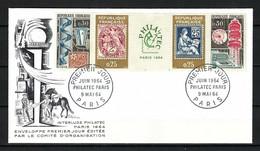 """FRANCE 1964: FDC Avec Bande De 4 TP Avec Vignette Centrale """"PHILATEC"""" Y&T 1417A - Usados"""