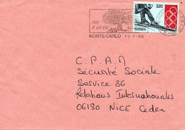 Monaco - Lettre Du 11/01/96 Pour Nice Avec N°YT 1890 De 93. 101éme Session Du COI. Ski. Sports D'hiver. - Covers & Documents