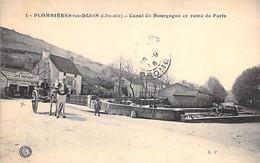 28 - PLOMBIERES Les DIJON Canal De Bourgogne Route De Paris ( Café Restaurant LA BELLE VUE - Attelage ) CPA Village - Other Municipalities
