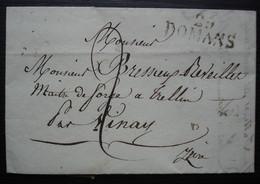 1823 25 ROMANS, Marque 32 X 13 Sur Lettre Pour Le Maître De Forge De Trellin Par Vinay - 1801-1848: Precursors XIX