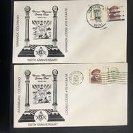 USA 1988 2 X Denver Masonic Stamp Club Covers - Granada & Julesburg Postmarks - Covers & Documents