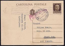 Ljubljana (Lubiana, Machine Cancellation) To Stari Trg Pri Rakeku, 30 Cent Postcard, Mailed 1943 - Lubiana