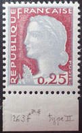 R1507/621 - 1960 - TYPE MARIANNE DE DECARIS - N°1263f (II) NEUF** Bandelette Inférieure Blanche - Ongebruikt