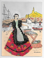 """Carte Brodée  """" MARSEILLE """" Costume  Régional - Borduurwerk"""