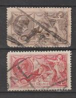 """Grossbritanien - 1913 Ff. - Ausgabe """"George V/Britania"""" 2/6 Sh. Und 5 Sh. Je Gestempelt (065) - Usados"""