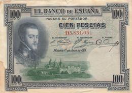 BANCONOTA SPAGNA 100 PESETAS 1925 VF (HP428 - 100 Pesetas
