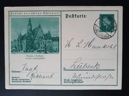 """Deutsches Reich 1932, Bild Postkarte P202 """"Breslau-Rathaus"""" RENNFELD - Interi Postali"""