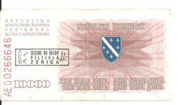 BOSNIE-HERZEGOVINE 10000 DINARA 1993 VF P 17 B - Bosnia And Herzegovina