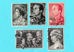 Grece Lot 5 Timbres Roi Paul 1er, Reine Sophie, Reine Frederika, Rois George I, Constantine, Alexandre Et Paul 1er - Usati