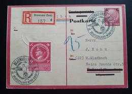 Deutsches Reich 1944, Reko Postkarte MiF BRAUNAU(INN) Gelaufen M.GLADBACH - Briefe U. Dokumente