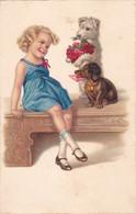 CPI FILLE FILLETTE BLONDE CHIENS TECKEL & FOX TERRIER Vers 1950 @ Série PITTIUS N° 818 - Dogs