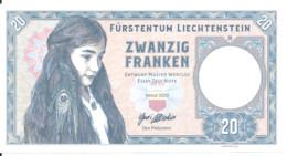 LIECHTENSTEIN 20 FRANCS 2020 UNC Specimen Private Issue - Liechtenstein