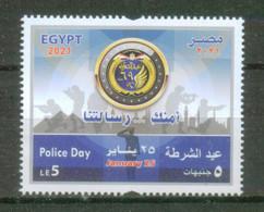 EGYPT / 2021 / POLICE DAY / PYRAMIDS / FLAG / MOSQUE / CAIRO TOWER / CAIRO CITADEL / SOLDIER / GUN / EAGLE EMBLEM / MNH - Ongebruikt