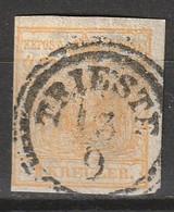 """Österreich, Austria  1850 """"TRIESTE 13-9"""" MiNr. 1Y (Machinenpapier, OWz) - Used Stamps"""