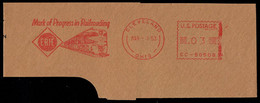 """U.S.A. (1953) Train. Attractive Red Meter Cancellation On Piece Pitney Bowes No 50508: """"Erie, Mark Of Progress In Railro - Otros"""