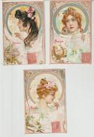 Art Nouveau 3 Cartes 1906 Allégories (poésie, Musique, Peinture) - Zonder Classificatie