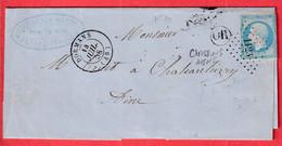 N°14 PC 1123 DORMANS MARNE OR CHASSINS AISNE POUR CHATEAUTHIERRY - 1849-1876: Klassik