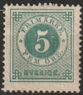 Suede, Sweden 1872-1885 5 öre Vert. Perf. 13. Yvert 18A. Mi. 19B. MH*  See Description - Neufs