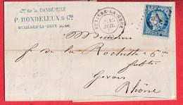 N°60 GC 681 BUXIERE LA GRUE ALLIER POUR GIVORS RHONE INDICE 7 - 1849-1876: Klassik