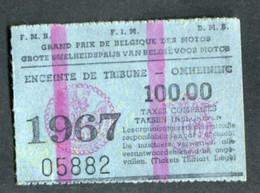 """Ticket D'entrée Moto """"Grand Prix De Belgique Des Motos - 1967 - Enceinte De Tribune 100,00 Frs"""" Tickets Thiriart à Liège - Tickets - Vouchers"""