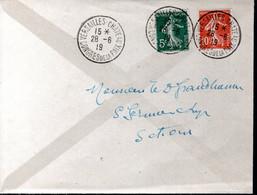 LETTRE 1919 - CACHET POSTAL NON ILLUSTRE - CHATEAU DE VERSAILLES, CONGRES DE LA PAIX - - Covers & Documents