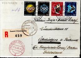 CARTE POSTALE RECOMMANDEE SUISSE 1948 - SERIE COMPLETE - YVERT 10 EUROS - - Winter 1948: St-Moritz