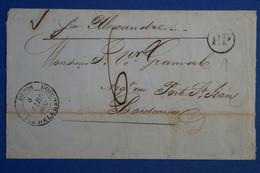 Q8 REUNION BELLE LETTRE RARE 1ERE ANNEE 1852 ST DENIS POUR BORDEAUX PAR ALEXANDRIE+ AFFRANCH.INTERESSANT - Lettres & Documents