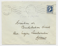 MARIANNE ALGER 1FR50 SEUL LETTRE AJACCIO 20.X.1944 CORSE POUR AJACCIO AU TARIF - 1944 Gallo E Marianna Di Algeri
