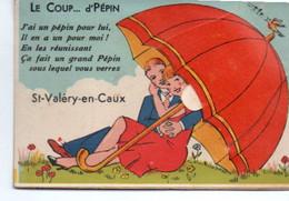 Cpa A Systeme St Valery En Caux Parapluie - Dreh- Und Zugkarten