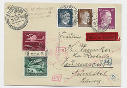 HITLER 40C REICH +3C+4C+12C+6C SURTAXE KARTE EXPRES STUTTGART 19.2.1944 TO HELVETIA SUISSE CENSURE NAZI - Storia Postale
