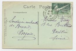 JEUX OLYMPIQUES 10C SEUL CARTE 5 MOTS DAGUIN BIARRITZ 14.5.1924 AU TARIF - 1921-1960: Periodo Moderno