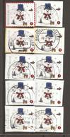 Belgique - 2011 - Noël - Petit Lot De 10 Timbres ° Issus De Carnet - 4 Différents - Sur Fragments - Used Stamps