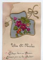 Carte Brodée Vive St Nicolas - Embroidered