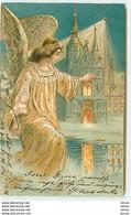 N°13135 - Carte Gaufrée - God Jul - Ange Gardien Protégeant Une Maison - Autres
