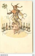 N°15595 - EAW - Prosit Neujahr - Un Fou Du Roi Sur Un Cochon Parmi Des Bouteilles - Anno Nuovo