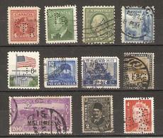 Monde - Perfins - Perforés - Petit Lot De 11° - Canada - USA - Inde - Japon - Soudan - Egypte - Australie - Kilowaar (max. 999 Zegels)