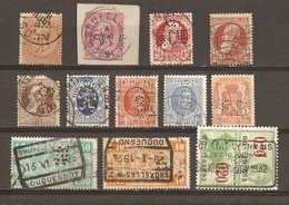 Belgique - Perfins - Perforés - Petit Lot De 12° - Léopold II - Albert Ier -Lion Héraldique - Petit Sceau - CF - Fiscal - Kilowaar (max. 999 Zegels)