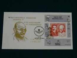 India 1997 Golden Mahatma Gandhi World Philotelic Exhibition Indepex '97 RARE FDC VF - Mahatma Gandhi