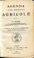 Agenda Aide-mémoire Agricole - Wery G. - 1914 - Agenda Vírgenes