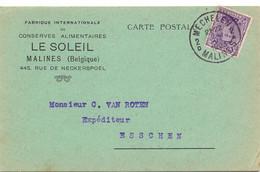 PK - CP - Briefkaart - Pub Reclame Conserves Le Soleil - Stempel Cachet Mechelen Malines à Esschen Essen - 1923 - Postkaarten [1909-34]
