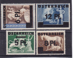 # E.13166 Austria 1945, Full Set Overprint MNH, Michel 664 - 667: Vienna Auxiliary Issue - 1945-60 Nuovi & Linguelle