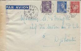 1942- Enveloppe Par Avion  Affr. 1,50 F De CANNES  Pour Djibouti - 1921-1960: Periodo Moderno